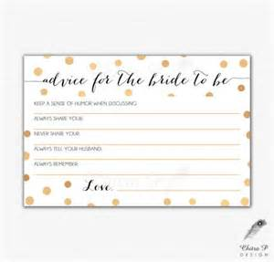 free printable advice cards bridal shower gold black bridal advice card printed or printable