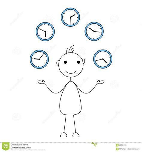 figure times stick figure juggling clocks stock vector image