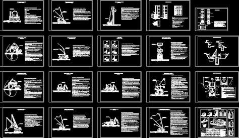 machinery perforator hydraulic crane dwg block