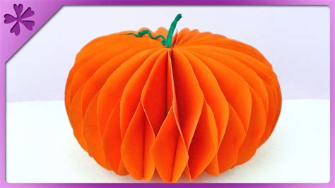 How To Make A Paper Pumpkin - diy paper pumpkin eng subtitles speed up 144