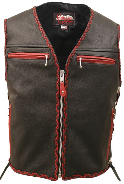 leather biker vest the elite motorcycle leather vest red black braiding