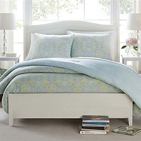 butter cotton deco medallion comforter set in aqua bed