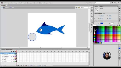 tutorial animasi flash keren tutorial adobe flash cs6 membuat animasi ikan part 1
