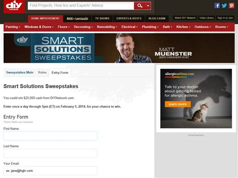 Diy Network Sweepstakes 2014 - diy network s smart solutions sweepstakes
