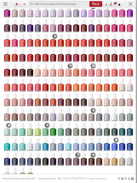 essie color chart essie color chart products i in 2019 essie colors