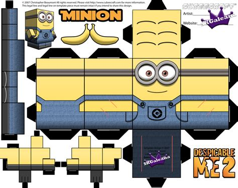 Minion Papercraft - despicable me minion with two template by skgaleana