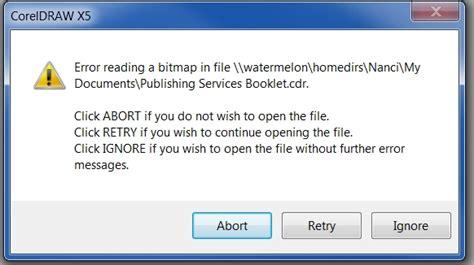 Corel Draw X5 Error Reading A Bitmap In File | error reading bitmap in file coreldraw graphics suite x3
