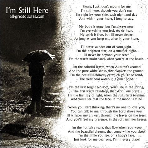 Im Still Here by I M Still Here I Ask Don T Mourn For Me