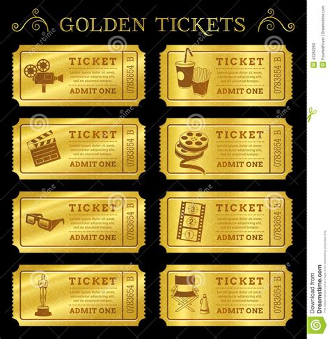 golden vector cinema tickets stock vector image 42262260