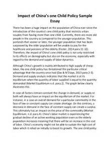 Policy Essay by Impact Of China S One Child Policy Sle Essay