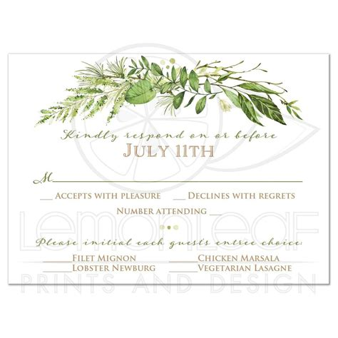 Bohemian House Decor Greenery Foliage Wedding Response Card Watercolor Leaves