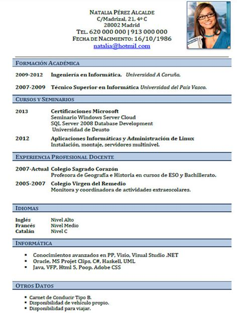 Plantillas De Curriculum Vitae Informatica Plantillas Y Modelos De Curriculum En Franc 233 S Trabajar En Francia Cvexpres Page 7