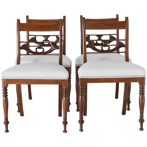 set of 4 antique regency dining chairs in mahogany