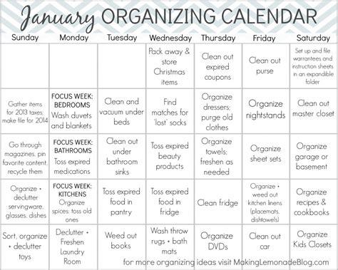 printable calendar home organization free printable january organizing calendar making lemonade