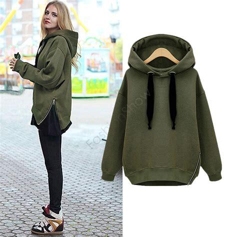 Hoodie Style Sweater S M L Black Army Green 30226 fashion side zipper hoody sweatershirt winter