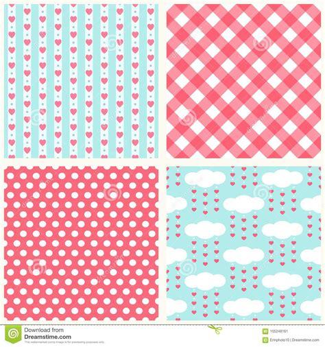 Seamless Patterns With Gingham Polka Dot Iphone Semua Hp set of retro primitive seamless patterns with hearts polka dots and gingham stock vector