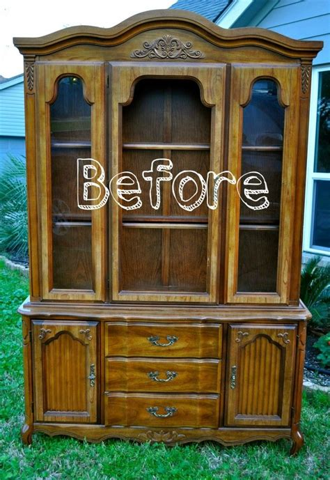 repurpose old china cabinet refurbished china cabinet maybe a different color with a
