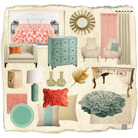 burgundy aqua cream coral room interior teal coral gold polyvore