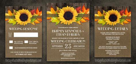 Wedding Invitations Fall Theme by Sunflower Wedding Invitations Vintage Rustic Wedding