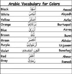 colors in arabic learn arabic vocabulary words for greetings family and more