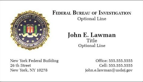Fbi Business Cards