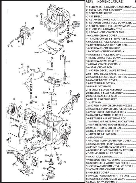 2 barrel carburetor diagram ford motorcraft 2100 2150 2 barrel carburetor parts page