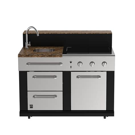 Outdoor Kitchen Sink Cabinet shop master forge 3 burner modular outdoor sink and side