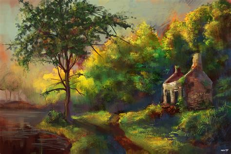 Country Cottage Paintings country cottage painting by remainaery on deviantart