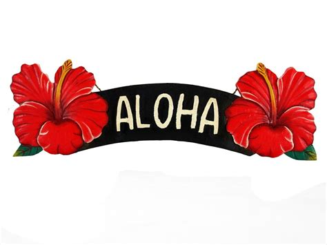 Word Signs Home Decor by Aloha Red Hibiscus Sign
