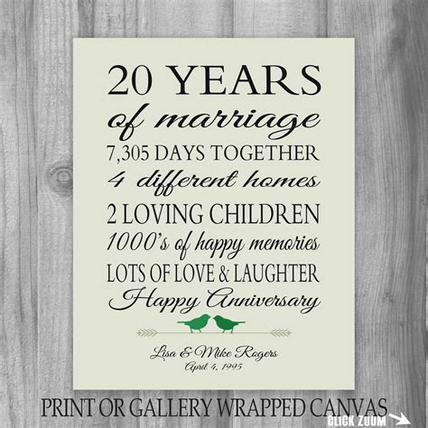20th anniversary gift 20 year anniversary by printsbychristine