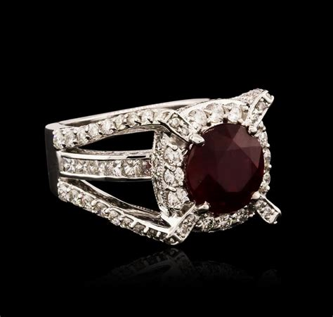 Ruby 5 85ct 14kt white gold 5 85ct ruby and ring