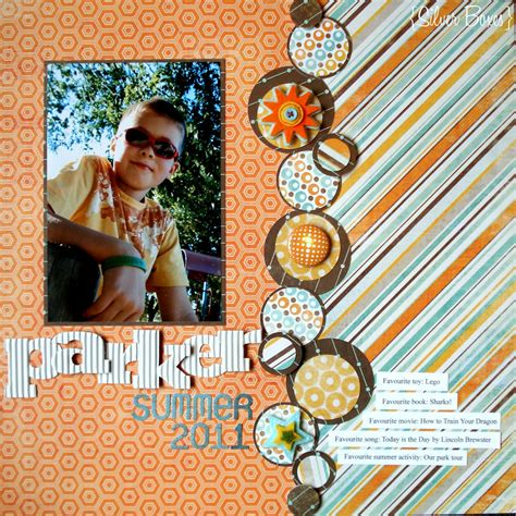 scrapbook layout one photo silver boxes summer layout my mind s eye