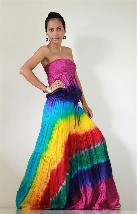 7 Funky Dresses By Burlapp by Tie Dye Dress Boho Hippie Funky Smocked Maxi Dress