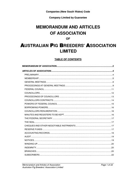 Template Memorandum And Articles Of Association Memorandum And Articles Of Association Sle