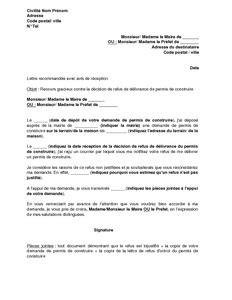 Lettre de recours contre le refus d'octroi d'un permis de