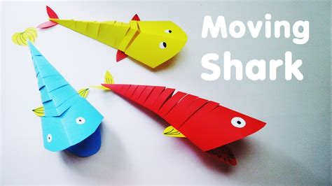 How To Make A Shark Out Of Paper - make moving paper shark fish easy tutorial