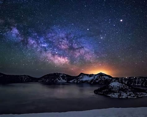 desktop wallpaper hd 1280x1024 crater lake night sky with star milkyway desktop wallpaper