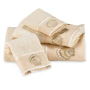 seashell bath towels oceana ivory fingertip towel bed bath beyond