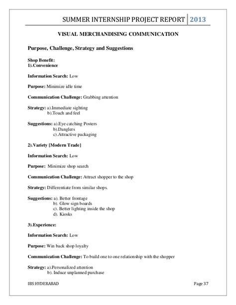 Mba Project Report On Visual Merchandising by Mba Summer Internship Project Report