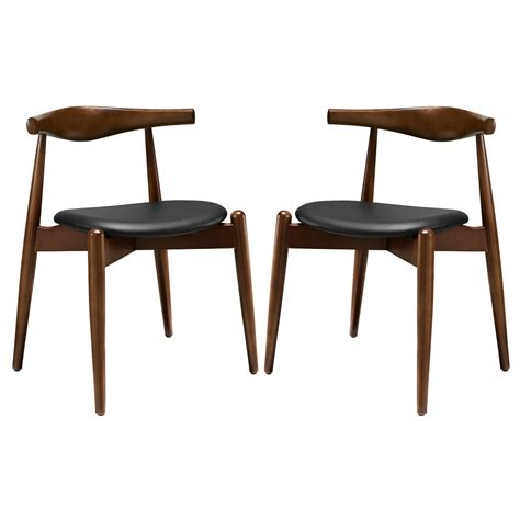 Hardwood Dining Chairs Set Of 2 Stalwart Contemporary Wood Dining Side Chairs W Upholstered Seats Walnut Black