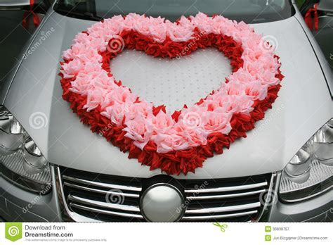 Wedding Car With Heart From Flowers Royalty Free Stock