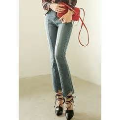 Fray Hem Boot Cut Washed redopin yesstyle