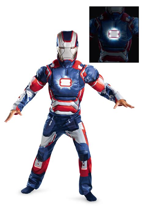 kids iron patriot muscle light costume