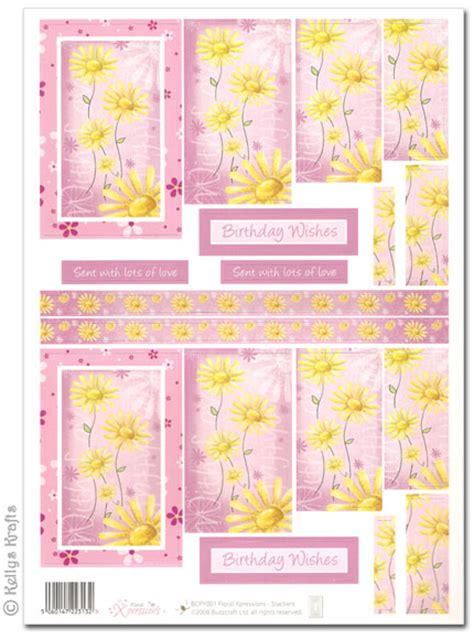 Decoupage Cut Outs - die cut 3d pyramid decoupage yellow flowers on pink