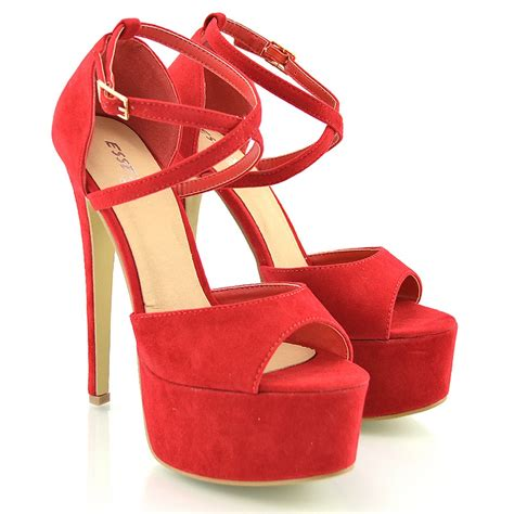 Sendal Wedges Stileto High Heels Wanita Bahan Suede Best Seller womens strappy platform peep toe stiletto sandal high heel shoes size 3 8 ebay