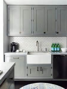 Kitchen Backsplash Panel Gray Recessed Panel Cabinets White Subway Tile Backsplash