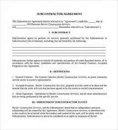 Contract For Subcontractors Template by Sle Subcontractor Agreement 14 Documents In Pdf Word