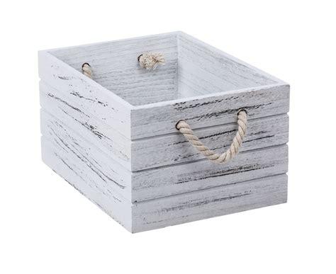 white wash wooden crate medium  storage box