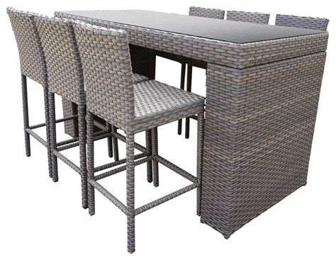 Patio Bar Table Set Harmony Bar Table Set With Bar Stools 7 Set Tropical Outdoor Pub And Bistro Sets By