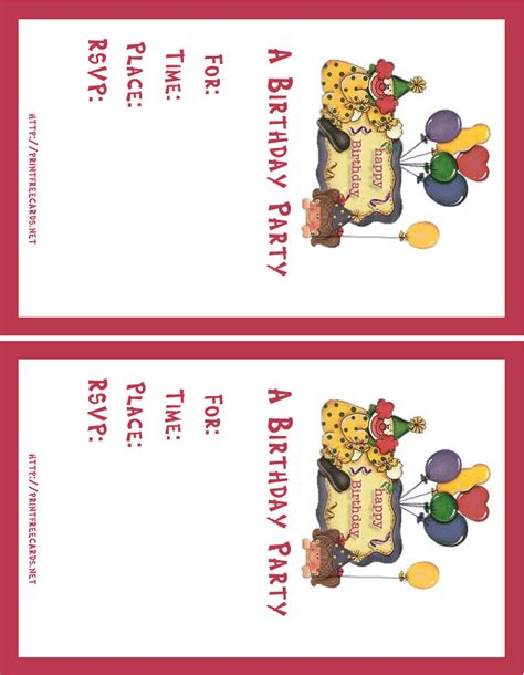 printable birthday invitation cards with photo free printable birthday party invitation cards
